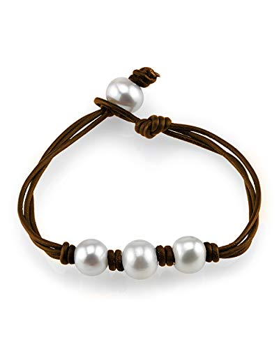 THE PEARL SOURCE 10-11mm Genuine White Freshwater Cultured Pearl Brown Leather Daisy Bracelet for Women