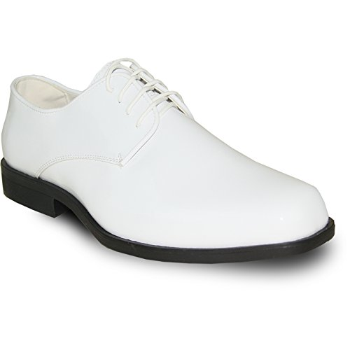 VANGELO Men's Tuxedo Shoes Tux-1 Wrinkle Free Dress Shoes Formal Oxford - Wide Width - Tuxedo Shoe White