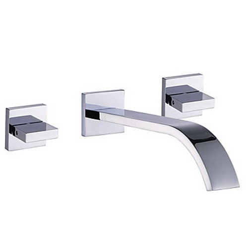 Greenspring Wall Mount Two Handles Waterfall Bathtub Faucet Spa Spout,Chrome Finished (Faucet Wall Bathtub Mount)