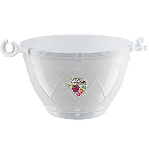 Santino Hanging Basket Lilia 9.2 Inch White Flower Pot With Attached Saucer Indoor Outdoor Plastic Planter (Hanging Basket Flower Pots compare prices)
