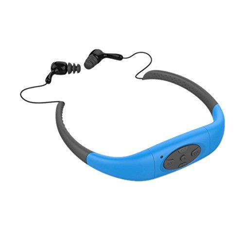 SHULANTONGDA Waterproof Sports MP3 Headset,Music Player,Built-in 8GB Memory,Head Wearing Underwater FM MP3 Player Radio For Diving Swim Surfing Sports.Super Waterproof IPX8 (8GB Memory, Blue)