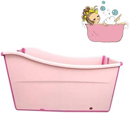 折りたたみバスタブ GYF 子供用ポータブル折りたたみ式浴槽プール大人用/高齢者用の大型の自立型コーナーバスタブバスバケツスパニング、カバー付きの長い断熱時間 2色子供用プールプール (Color : Pink)
