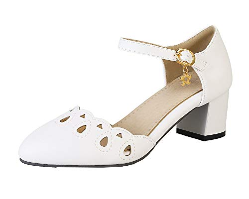 Sandales à Correct TSFLH007639 Femme Talon Boucle Couleur Unie AalarDom Blanc 5w0HCqa