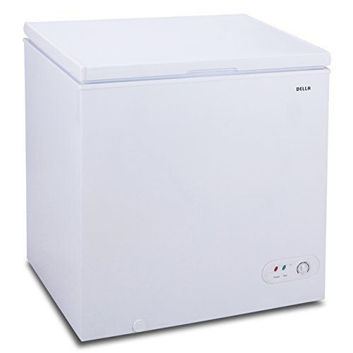 Della 5.2 CU. Feet Chest Freezer with Basket Top Load Power Indicator Light Compact Adjustable, White