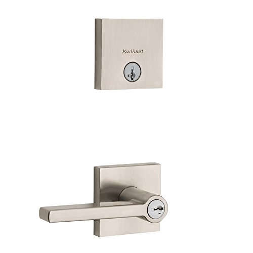 060 Square - Kwikset 99910-060 Halifax Keyed Entry Lever and Downtown Single Cylinder Deadbolt Combo Pack featuring SmartKey Security in Satin Nickel