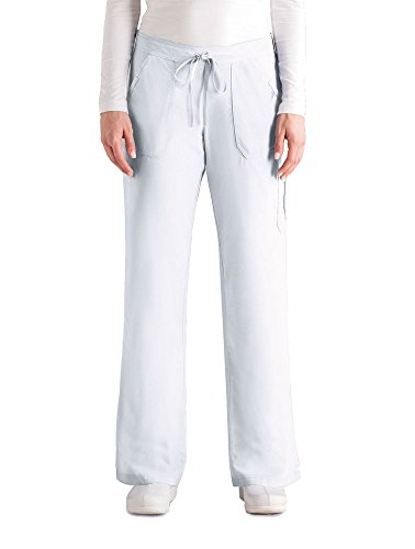 Grey's Anatomy Women's 4245 Junior Fit 4-Pocket Elastic Back Scrub Pants, White, - 4 Flare Pant Scrub Pocket