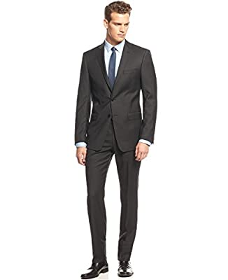 Calvin Klein Extra Slim Black 2-Button Flat Front Wool New Men's Suit