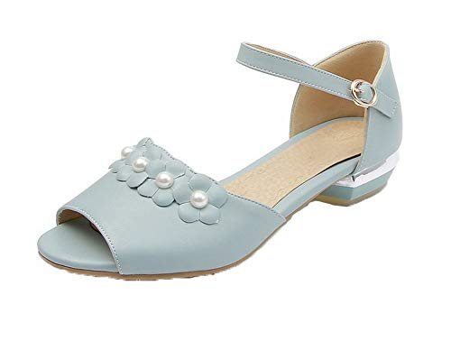 Sandales d'orteil GMBLB013622 Cuir à Bleu PU Femme Ouverture Bas AgooLar Talon Boucle Zqzw7CE