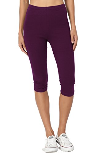 TheMogan Women's Basic Cotton Spandex Below Knee Length Leggings Dark Plum (Knee Length Pants)