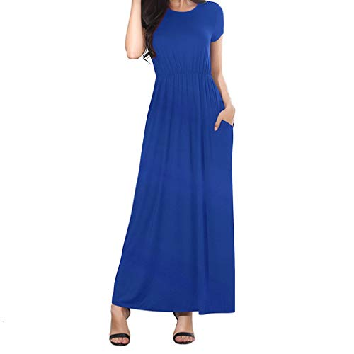 TIFENNY Women's Casual Daily Wear Dresses Simple O-Neck Solid Color Loose Dress Summer Short Sleeve Long Dress Blue