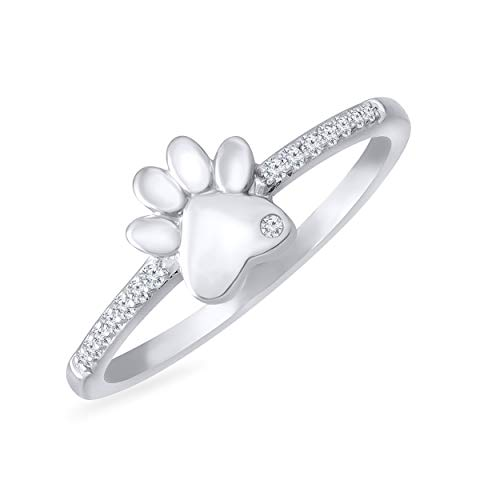Rare Earth Diamond Jewellery Round Cut White Cubic Zirconia Paw Print Ring in 925 Sterling Silver from Rare Earth Diamond Jewellery