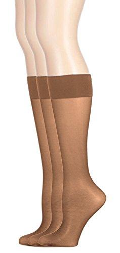 Ladies Plus Size Queen Day Sheer Knee High Hosiery Stockings 3-Pack Dark Taupe 1X ()