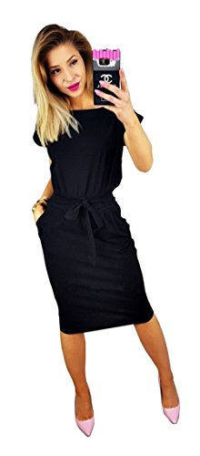 Longwu Women's Elegant Short Sleeve Wear to Work Casual Pencil Dress with Belt Black-XXL
