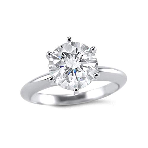 - 1.5 Carat 7.5mm round Forever ONE moissanite solitaire engagement ring 14k white gold 6 prong