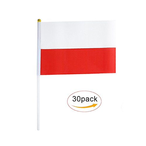 Poland Stick Flag,Polish Hand Held Mini Small Flags On Stick International Country World Stick Flags For Party Classroom Garden Olympics Festival Clubs Parades Parties Desk Decorations(30 ()