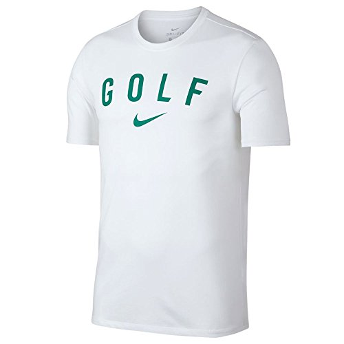 NIKE Dry SS Graphics Tee Golf T-Shirt 2018 White/Neptune Green Medium