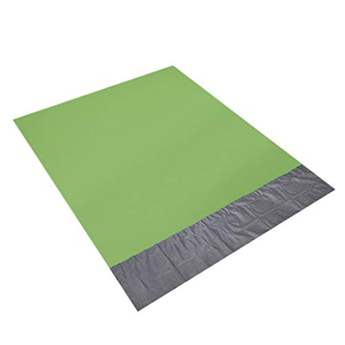 Retrofish Multipurpose Outdoors Sand Free Beach Mat Outdoor Picnic Blanket Sandless Rug Mattress Pad Away from Sand, Dust, and Water - with Free Carry Bag and Durable Anchors (Green+Grey, 145200cm)