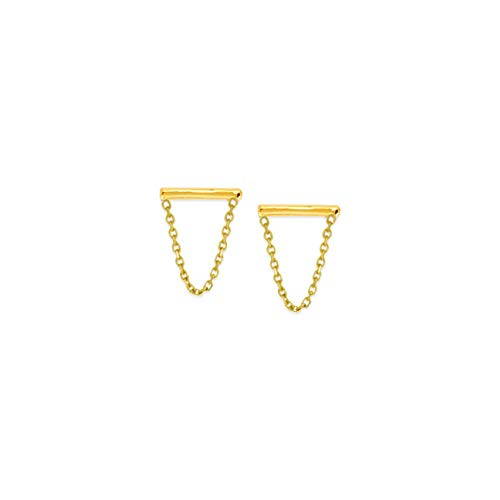 14k Yellow Gold Small Bar and Drape Chain Earrings