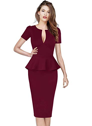 VFSHOW Womens Dark Red Deep V Neck Peplum Slim Cocktail Party Bodycon Sheath Dress 2777 DRED XL