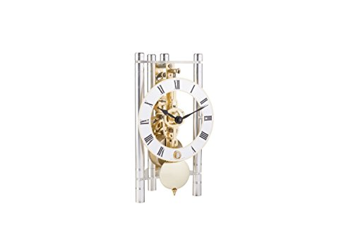 Hermle 23023X40721 Lakin Triangular Table Clock - Silver with Roman Metal Dial & Brass Pendulum by Hermle