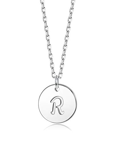Sllaiss Initial Pendant Necklace Round Disc Engraved Letter Pendant 925 Sterling Silver Personalized Alphabet Pendant for Women Girls Teen (R)
