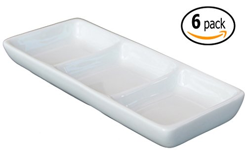 3-Compartment Ceramic Sauce Dish and Pan Scraper, 7 inch x 3 Inch, Bone White (6)