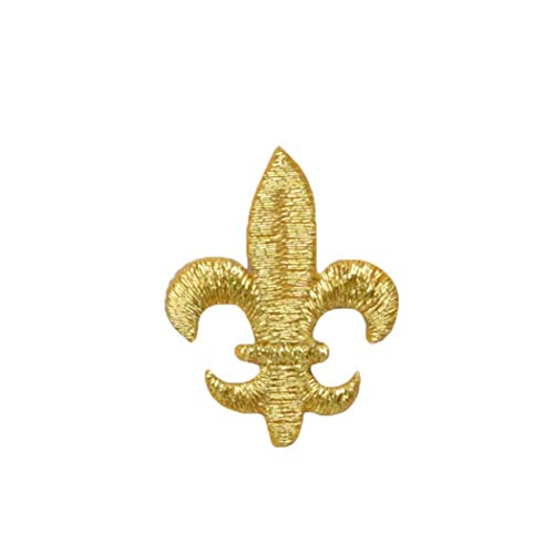 Medium Metallic Gold Fleur De Lis Iron on Embroidered Patch ()