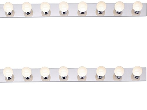 48in Strip Fixture - Nuvo SF77/195 Eight Light Vanity Strip, Polished Chrome, 48-Inch (Pack of 2, Polished chrome)