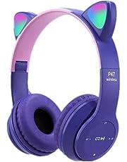 PINGHE Sluchawki Bluetooth-Przewodowy/Bezprzewodowy Sprytny Kot Ucho LED Light Up Skladany Na Ucho Sluchawki Do Gier Z Mikrofonem Dla Telefonów Komórkowych/PC/Laptopy/E-Ksiazki Dla