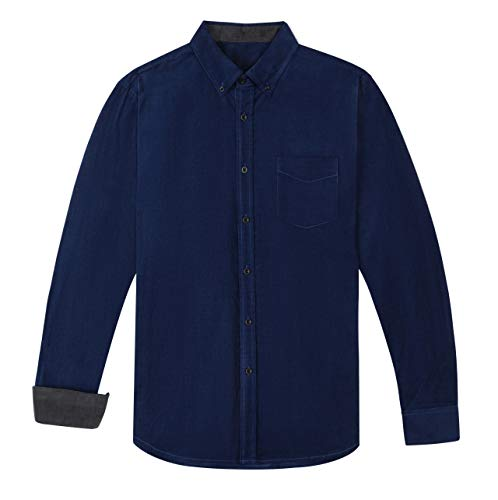 - VICALLED Men's Cotton Lightweight Corduroy Shirt Solid Color Long-Sleeve Tops Blue