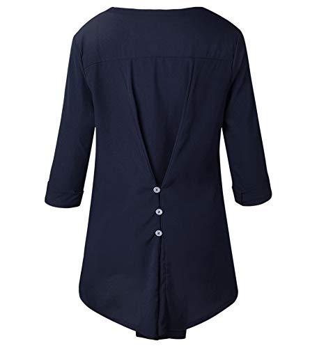 Donne Cucitura Lunga Maglie Primavera Tops Manica Collo ulein Fr Blu Fox Scuro V Moda Pizzo a Maglietta Blouse e Autunno aYW1qS