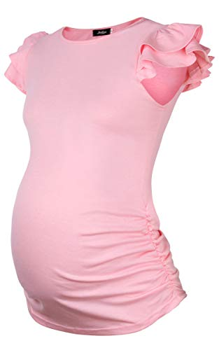Molliya Maternity Tops Flying Sleeve Ruched Sides Casual Pregnancy Summer T-Shirt Pink