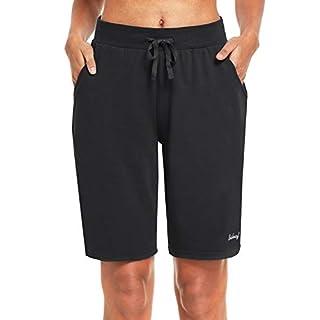 """BALEAF Women's 10"""" Long Shorts Cotton Lounge Yoga Bermuda Walking Pajama Activewear Jersey Shorts Pockets Black M"""