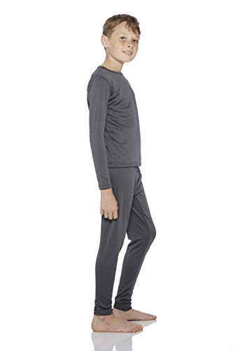 Rocky Boy's Smooth Knit Thermal Underwear 2PC Set Long John Top and Bottom Pajamas (Charcoal, XL)