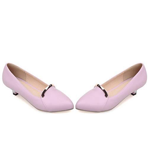 Flats Puro AllhqFashion Viola Luccichio FBUIDD006029 Donna Tacco Basso Ballet Tirare qa0BawP