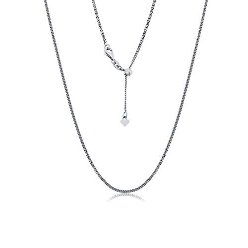 Sterling Silver Italian Adjustable Cuban Curb Bolo Necklace Chain for Women- Thin Adjustable Necklace in 4 Colors (rhod)