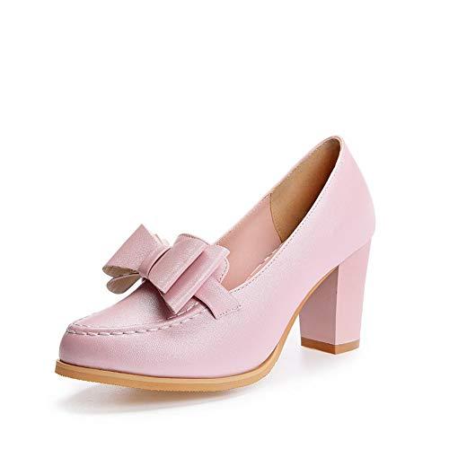 Womens BalaMasa Pink Urethane Pumps Shoes Bows APL10688 Applique Casual fwnawdqx7U