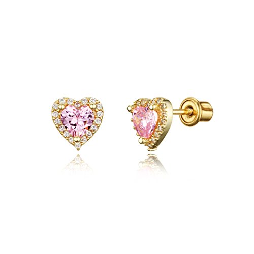 14k Gold Plated Brass Heart Screwback Children Earrings with Sterling Silver Post
