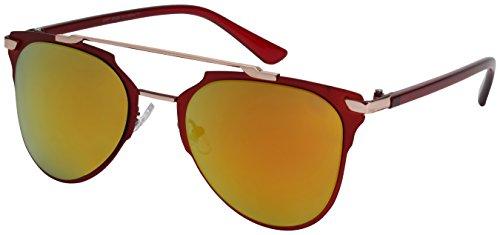 Edge I-Wear Retro Pantos Shape Full Brow Bar Aviator Sunglasses with Color Mirrored Lens - Sunglasses M.rd
