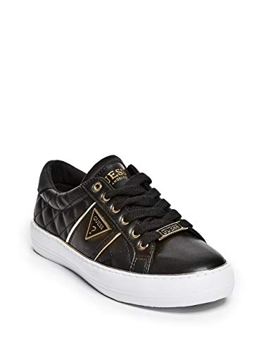 GUESS Factory Women's Gilda Quilted Leather Low-Top Sneakers Black