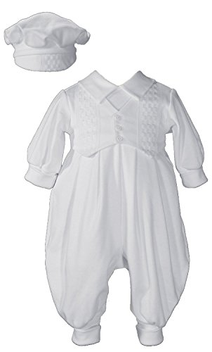 Hat Cap Windowpane (Little Things Mean A Lot Long White Boys Celebration Christening Baptism Set with Hat, LG)