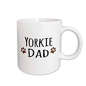 3dRose mug_154008_1 Yorkie Dog Dad Yorkshire Terrier Doggie by Breed Doggy Lover Brown Paw Prints Pet Owner Ceramic Mug, 11-Ounce 49