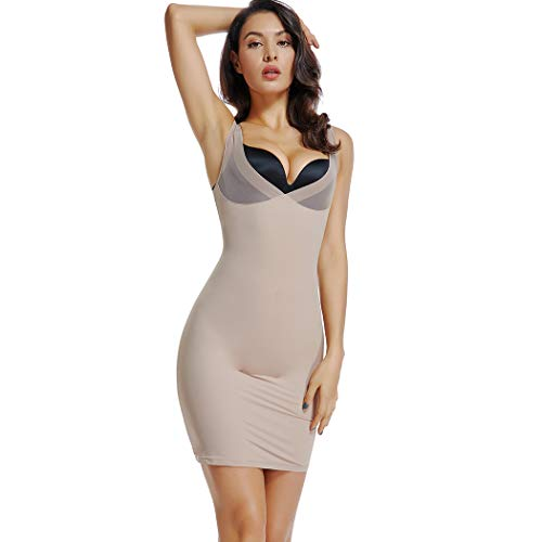 Women's Firm Control Open Bust Slip Shapewear Full Slips Under Dresses Body Shaper