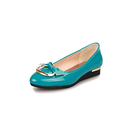 AmoonyFashion Womens Closed Round Toe Low Heel Square Heel Patent Leather PU Solid Pumps with Bowknot Blue p0m6ReAq