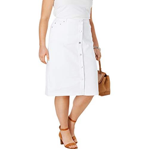 Jessica London Women's Plus Size True Fit Denim A-Line Skirt - White, 18 W
