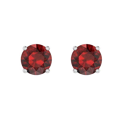 Belinda Jewelz Womens 14k 7 mm Round Sparkle Bling Zodiac Birthstone Gemstone Prong Setting Earring Jewelries Accessory Gems Stud Earrings, 2.88 Carat Garnet Red