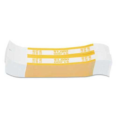 Coin-Tainer Currency Straps, Yellow, 1,000 in $10 Bills, 1000 Bands/Pack