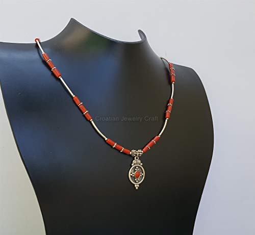 Small Bead Red Coral Necklace, Untreated Mediterranean Coral Pendant Necklace, Solid sterling Silver Necklace *Exp Shipping (Marcasite Bracelet Filigree)
