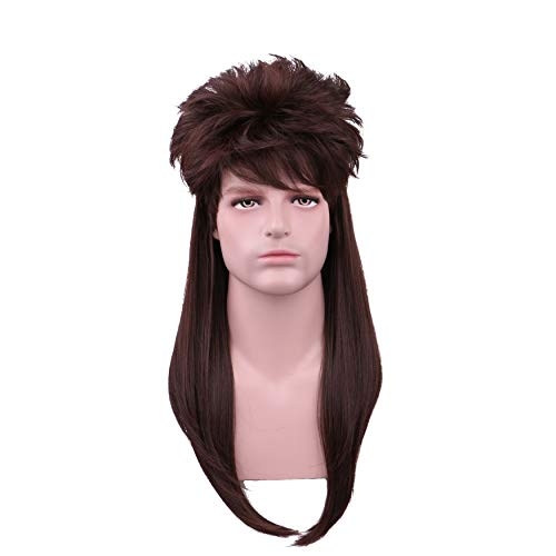 Yilys 80s Men's Long Brown Mullet Wig Halloween Heavy Metal Rockstar Wig -