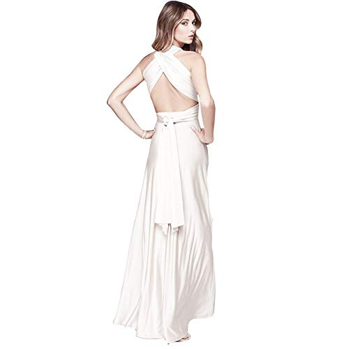 Choies Women's Convertible Gown Dress Cream Multi-Way Strap Wrap Convertible Maxi Dress M
